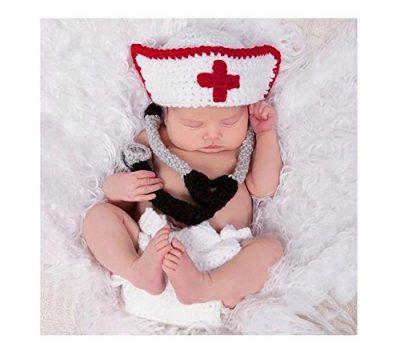 Accesorios de Traje de fotografía de Punto de Ganchillo con cofia y fonendoscopio. Ideal para bebés