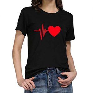 Camiseta Estampada con el dibujo de un Electrocardiograma. Amor