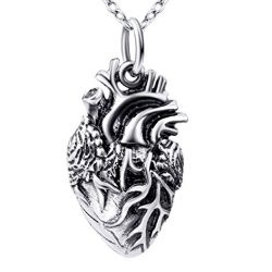collar colgante anatómico del corazón en plata de ley 925