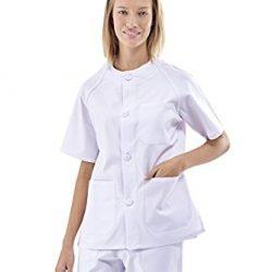 uniforme blanco cuello redondo