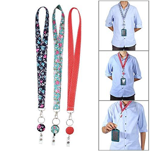 Llavero de Seguridad para Enfermeras y Profesores, 3 Unidades, 2 en 1, retráctil, Carrete con Clip Giratorio de cocodrilo de 360°, Cierre de Seguridad